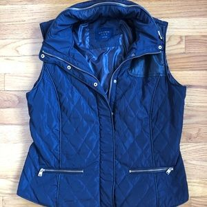 Zara Basic Navy Quilted Vest
